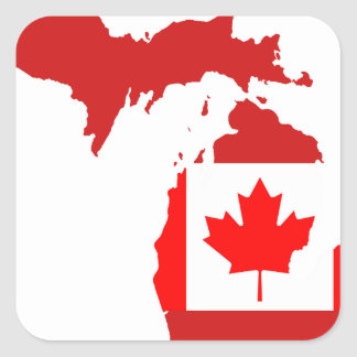 Canadians live or work in michigan square sticker