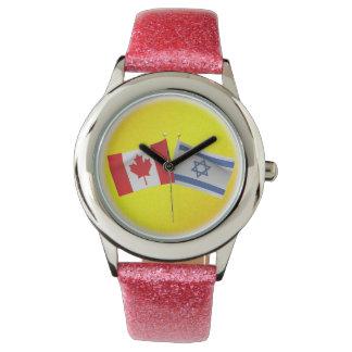 Canadiense de LuvIsrael y bandera de Israel Reloj De Mano