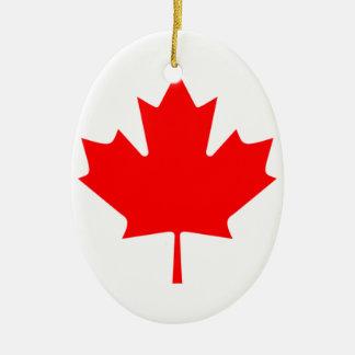 Canadiense FlagPattern Adorno Ovalado De Cerámica