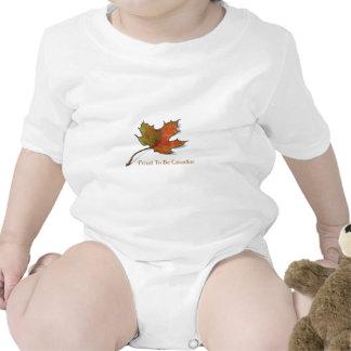 Canadiense orgulloso: Hoja de arce en lápiz del Traje De Bebé