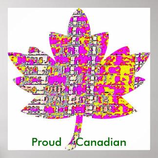 Canadiense orgulloso - hoja de arce rosada exótica posters