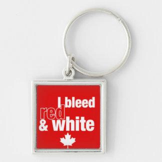 Canadiense orgulloso - sangro rojo y blanco llavero cuadrado plateado