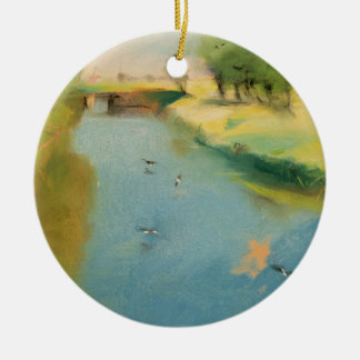 Canal, 1897 (pastel on canvas) ceramic ornament