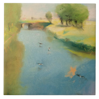 Canal, 1897 (pastel on canvas) ceramic tile