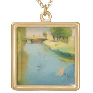 Canal, 1897 (pastel on canvas) gold plated necklace