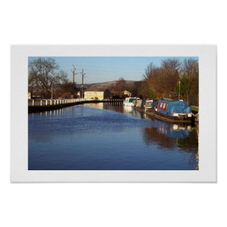 Canal at Bingley Five rise locks Poster