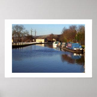 Canal at Bingley Five rise locks Print