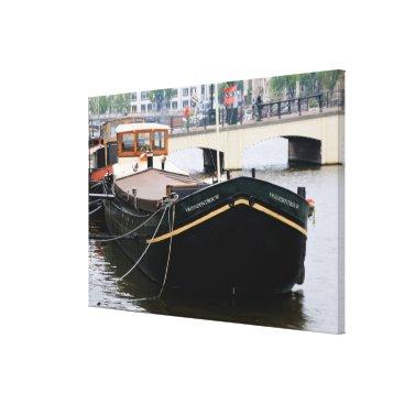 Beach Themed Canal barge, Amsterdam, Holland Canvas Print
