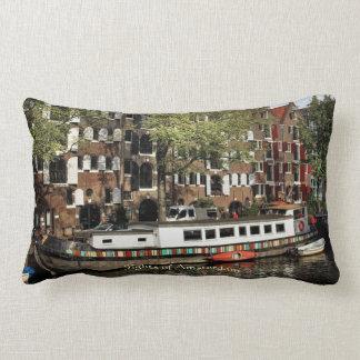 Canal Barge, Sights of Amsterdam Lumbar Pillow