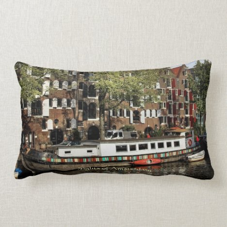 Canal Barge, Sights of Amsterdam Lumbar Pillow