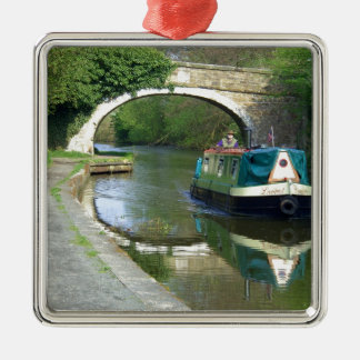Canal Boat Cruising Along Metal Ornament