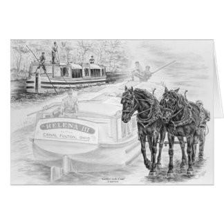 Canal Boat Draft Horses Pull Art by Kelli Swan Card