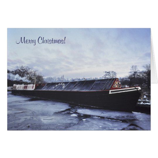 Canal boat in the snow card