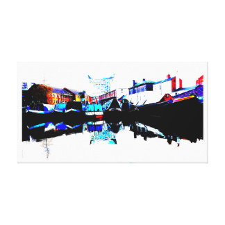 Canal Boat Scene, Gas Street Basin, Birmingham Canvas Print