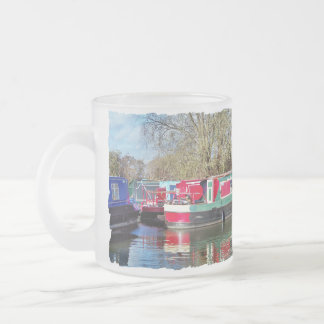 CANAL BOATS FROSTED GLASS COFFEE MUG