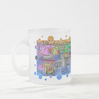 CANAL BOATS UK FROSTED GLASS COFFEE MUG
