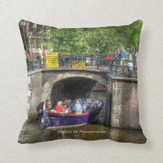 Canal Bridge Scene, Sights of Amsterdam Throw Pillow
