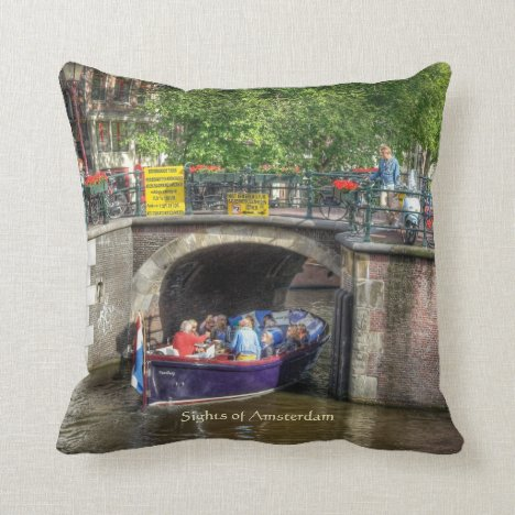 Canal Bridge Scene, Sights of Amsterdam Throw Pillow