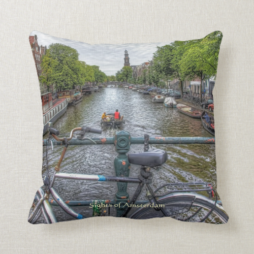 Canal Bridge View and Bike, Sights of Amsterdam Pillows