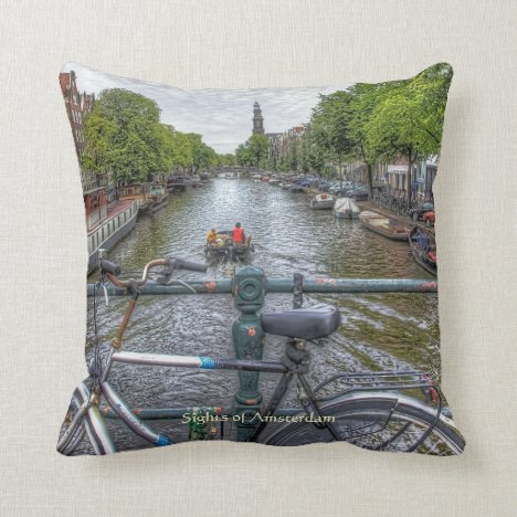 Canal Bridge View and Bike, Sights of Amsterdam Throw Pillow