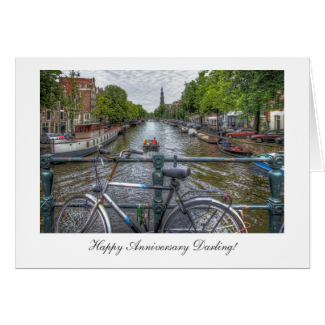 Canal Bridge View - Happy Anniversay Darling Greeting Card