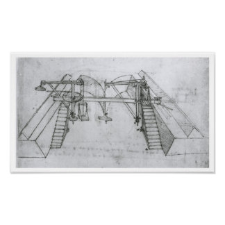 Canal Construction Machine, Leonardo da Vinci Poster