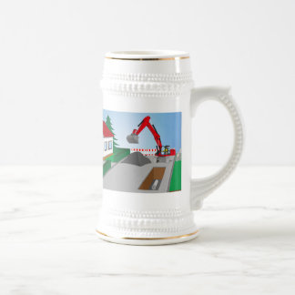 Canal construction place beer stein