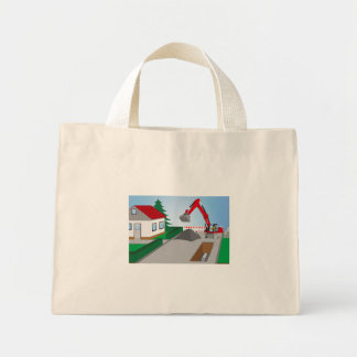 Canal construction place mini tote bag