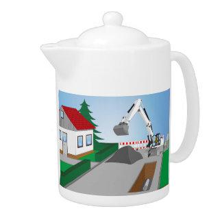 Canal construction place teapot