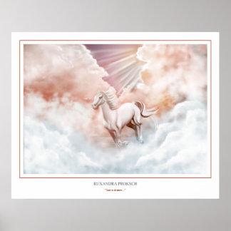 Canal corriente del caballo blanco las nubes 2 póster