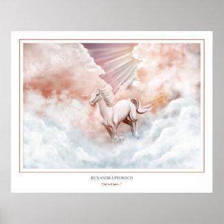 Canal corriente del caballo blanco las nubes póster