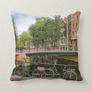 Canal Crossing and Bikes, Sights of Amsterdam Pillows