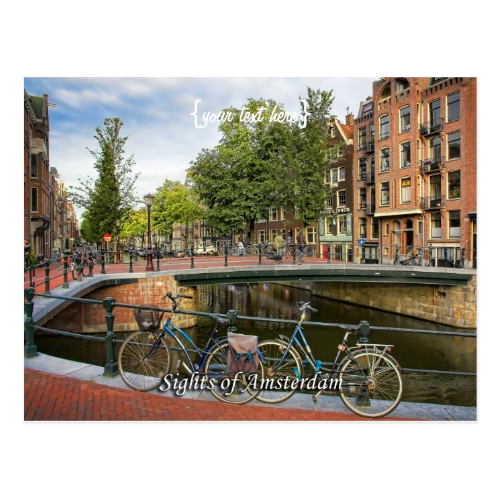 Canal Crossing, Sights of Amsterdam Postcard