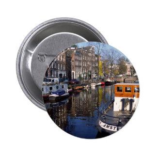 Canal de Amsterdam - Spiegelgracht Pin Redondo De 2 Pulgadas