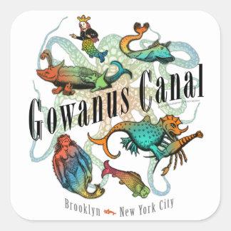 Canal de Gowanus de Brooklyn, NY Pegatina Cuadrada