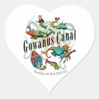 Canal de Gowanus de Brooklyn, NY Pegatina En Forma De Corazón