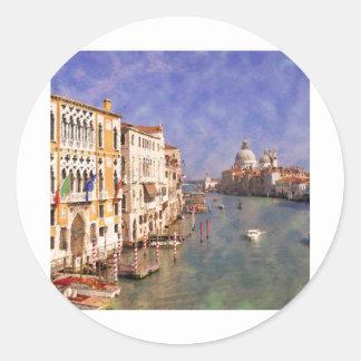 Canal de ImpressiItaly Venecia grande Pegatina Redonda