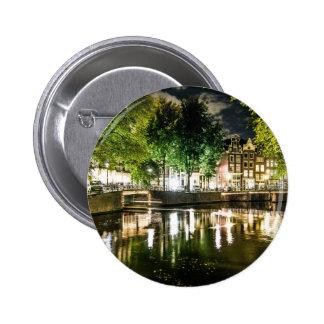 canal de la noche en Amsterdam Países Bajos Pin