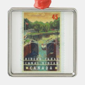 Canal de Rideau Adorno Cuadrado Plateado