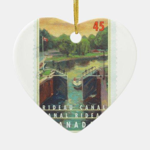 Canal de Rideau Adorno Navideño De Cerámica En Forma De Corazón