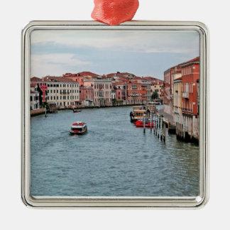 Canal de Venecia Adorno Navideño Cuadrado De Metal