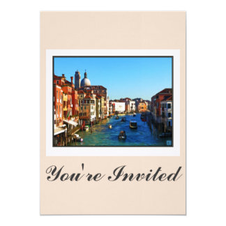 """Canal de Venecia con cita del amor Invitación 5"""" X 7"""""""