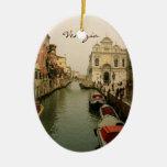 Canal del ornamento del árbol de navidad de adorno navideño ovalado de cerámica