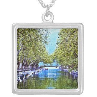 Canal en Annecy Francia Colgante Cuadrado