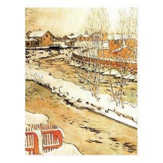 Canal en el invierno postal