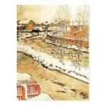 Canal en el invierno tarjetas postales