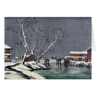 Canal en la nieve Ukiyoe Tarjeton