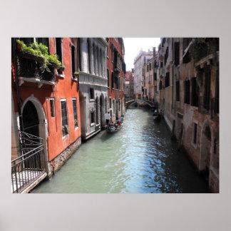 Canal en Venecia en Italia Póster