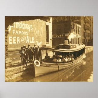 Canal Erie en el St del intercambio en el downtonw Poster