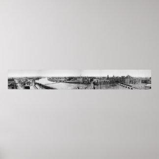 Canal Erie Panorama, 1906 de Rochester Póster